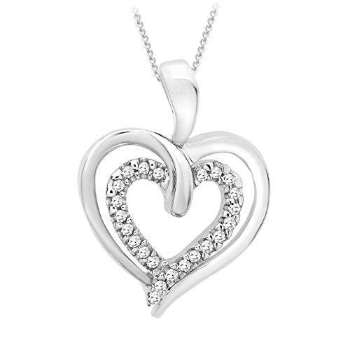 9ct White Gold Diamond Double Heart Pendant on Chain Necklace of 46cm/18