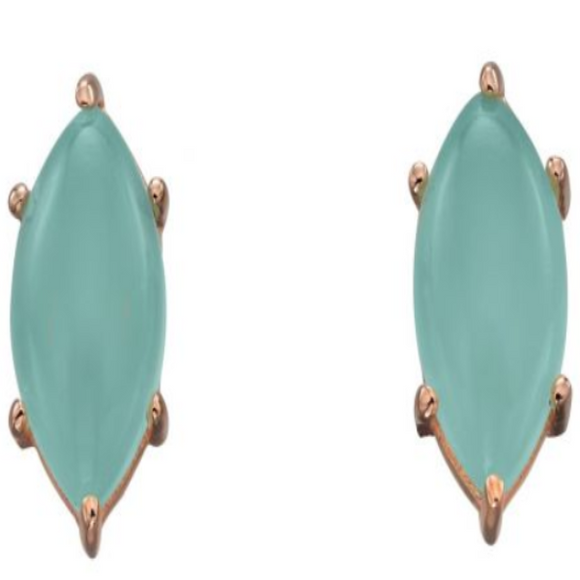 Sterling Silver Marquise Cab Aqua Chalcedony with Rose Gold Plate Earrings