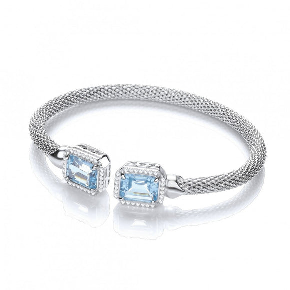 J JAZ Silver Torque Bangle with Blue Topaz and Cz's