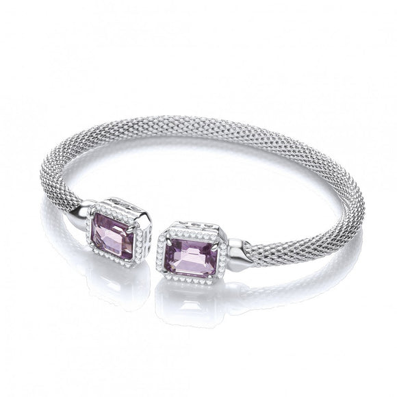 J JAZ Silver Torque Bangle with Amethyst and Cz's