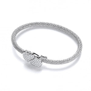 J JAZ Silver Light Pop Corn Heart Cz Bangle