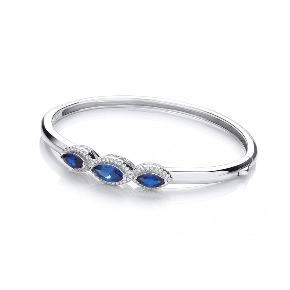 J JAZ Silver Three Azure Blue Marquise Cz Bangle
