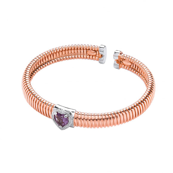 J JAZ Silver Rose Coated Silver Bangle with Amethyst 0.95ctw Heart