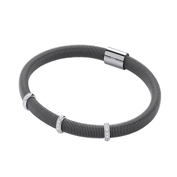 J JAZ Silver Ruthenium Magnetic Bangle with Three Rows of Cz's