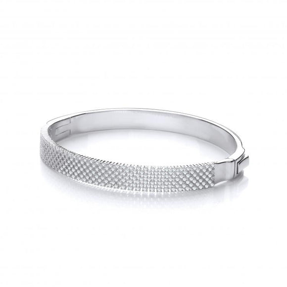 J JAZ Silver Micro Pave' Multi Row Cz Silver Bangle