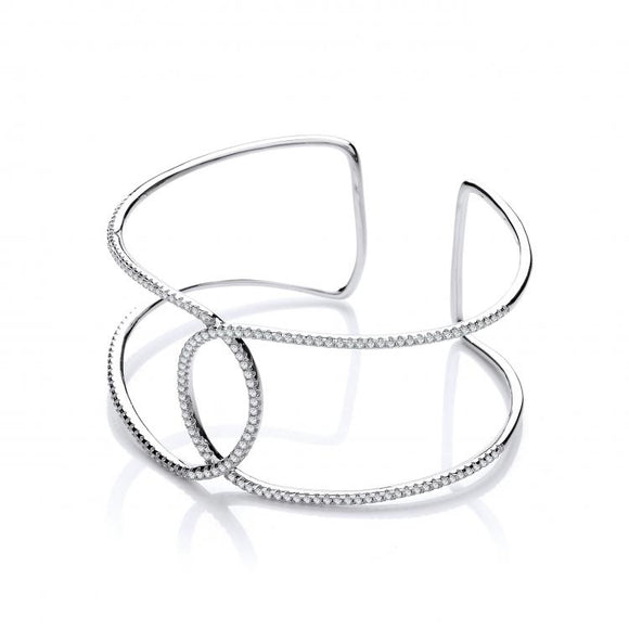 J JAZ Silver Micro Pave' Two Row Cz Interlocking Cuff Silver Bangle