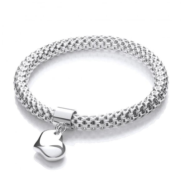 J JAZ Mesh with Heart Pendant - Fancy Bracelet