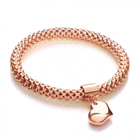J JAZ Rose Gold on Sterling Silver 925 Mesh Heart Charm Fancy Bracelet Hallmarked