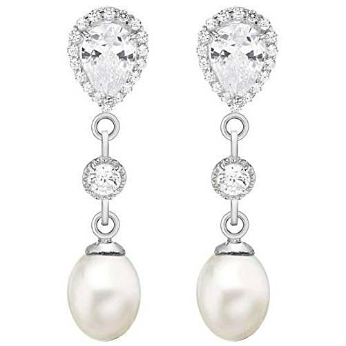 Womens Freshwater Pearl and Cubic Zirconia Drop Earrings - Silver