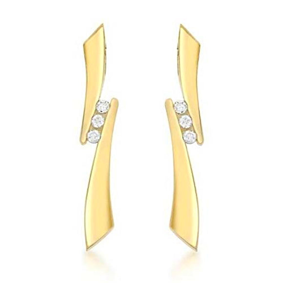 9 ct 3 Stone 0.10 ct Diamond Drop Earrings