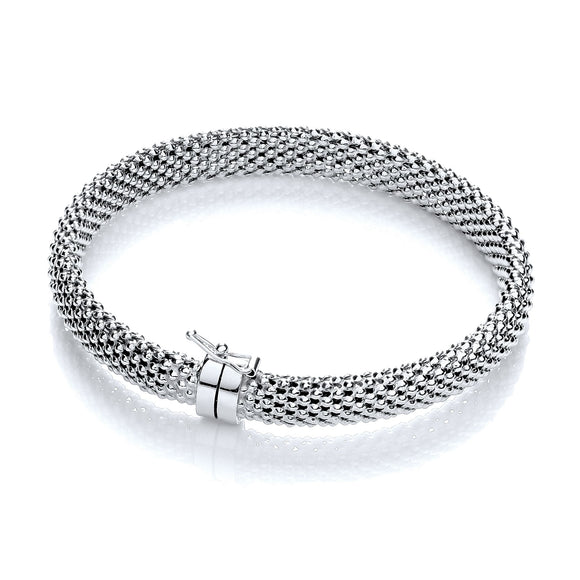 J JAZ Sterling Silver Mesh Bangle