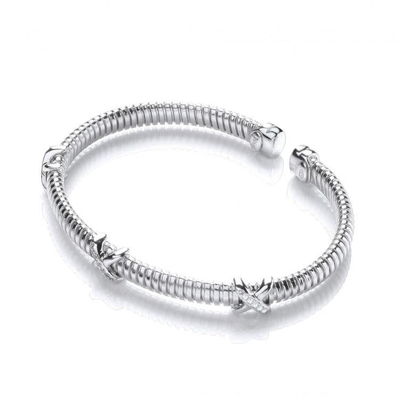 J JAZ Silver Torque Kisses Cz Wire Bangle