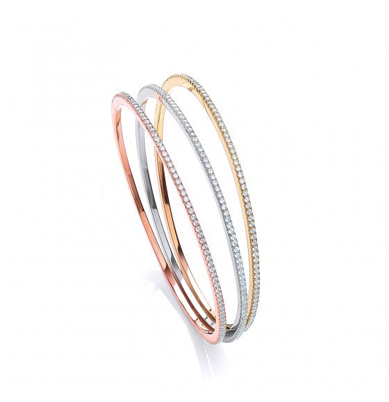 J JAZ Set of 3 Silver, Yellow & Rose Gold on Silver Micro Pave Cz Full Et Bangles