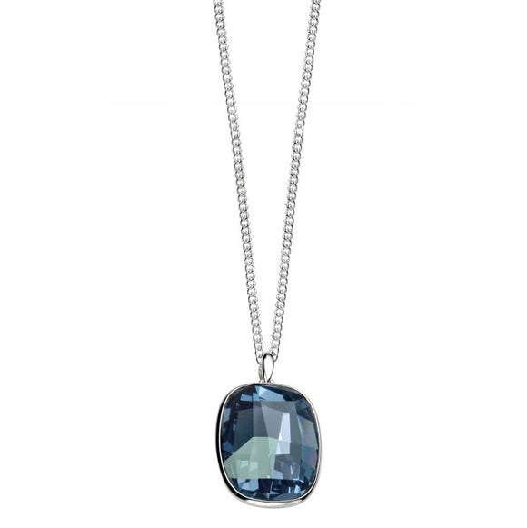 Elements Sterling Silver, Ladies, P3786L, Graphic Stone Pendant In Denim Blue Swarovski of Length 51cm