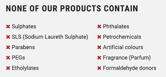 None of our products contain these harmful ingredients