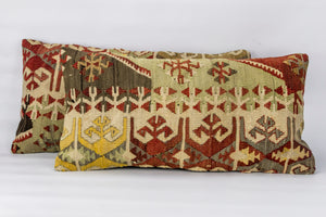 Pair of Kilim rug Cushion Cover 12x24 inches  (30x60 cm)