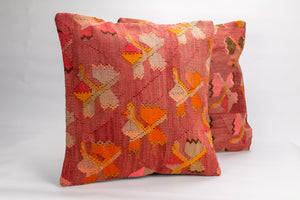 Pair of Vintage Kilim rug Pillow Cover 16x16 inches  (40x40 cm)