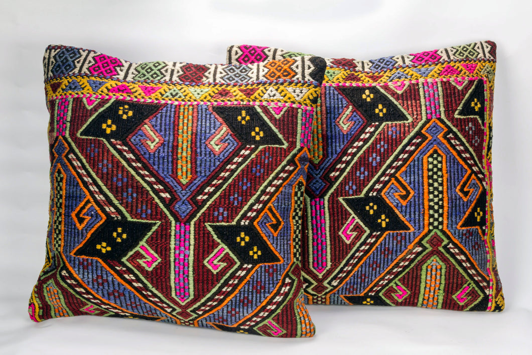 Pair of Kilim rug Cushion Cover 20x20 inches (50x50 cm)