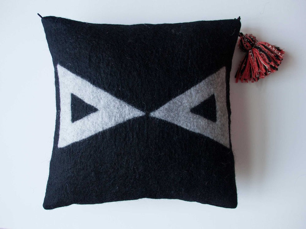 EVIL EYE Handmade Wool Felted Cushion Cover - livingroots uk