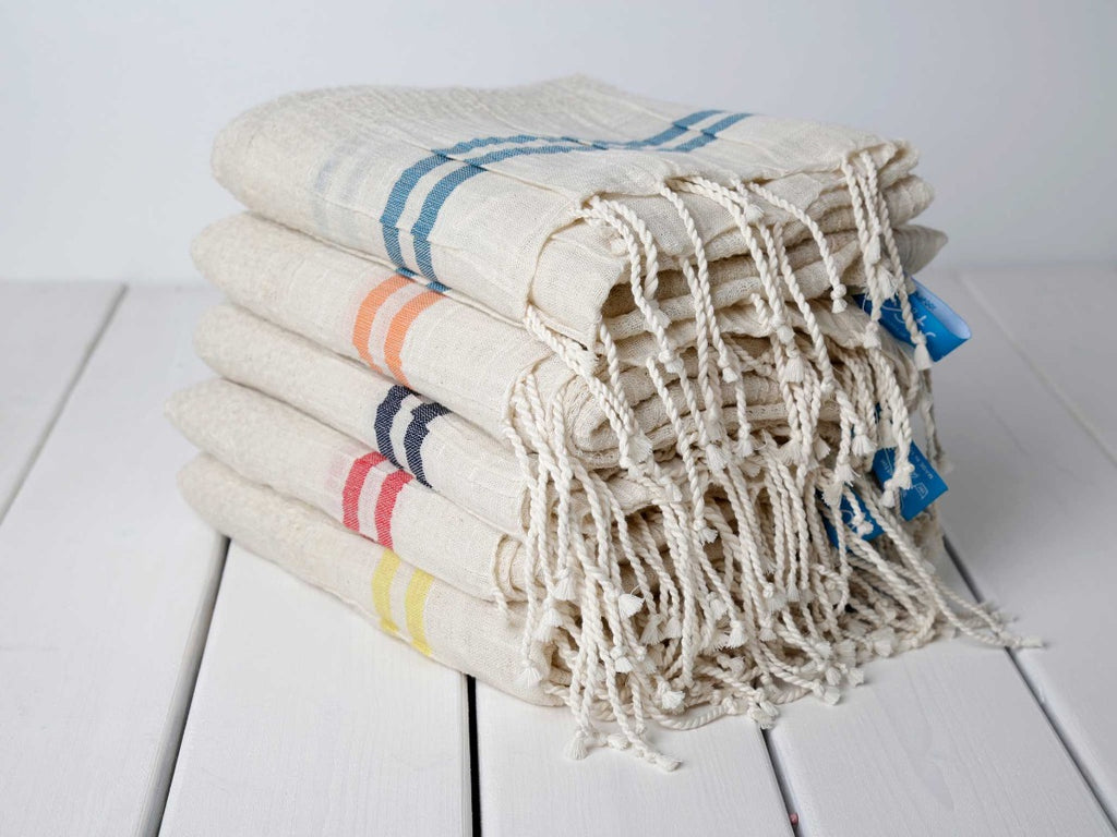 SUNNY Yellow Striped Lightweigt Cotton Towel - livingroots uk
