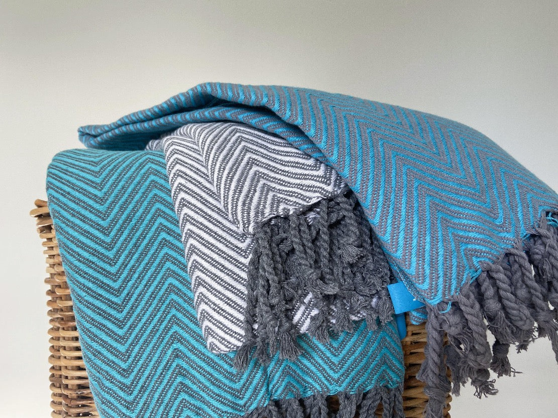 MEDITERRANEAN - Herringbone Sofa Throw - livingroots uk