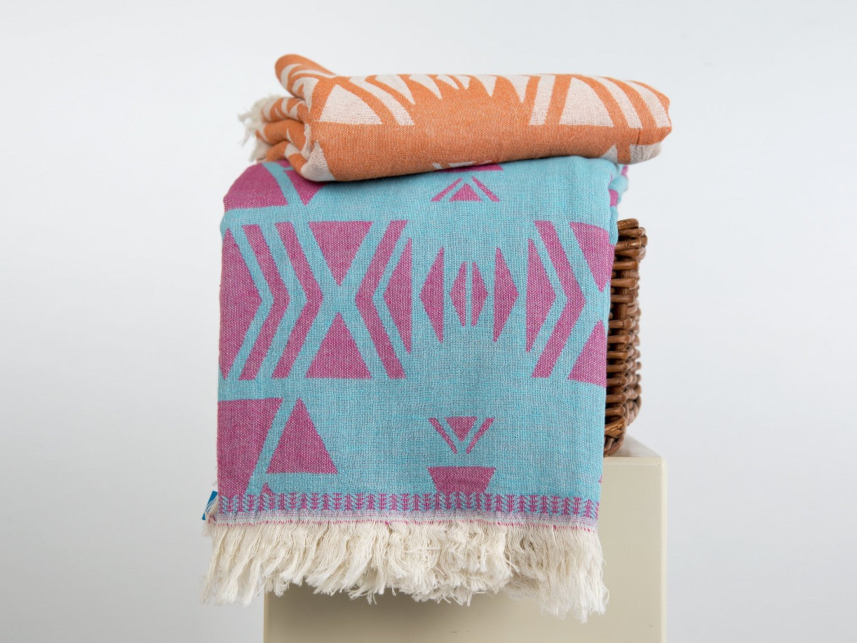 AZTEC BEACH TOWEL & PESHTEMAL - livingroots uk