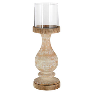Mango Wood Pillar Candle Holder Mango Wood Candle Holder Brushed Finish