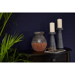 Kira Candle Holder (Large) Grey Marble