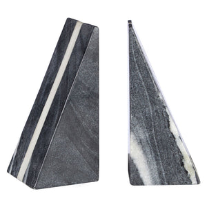 Kira Bookends Set of 2 Grey Marble