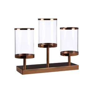 Kensington Townhouse Triple Candle Holder Metal / Glass / Bronze Hurricane Design