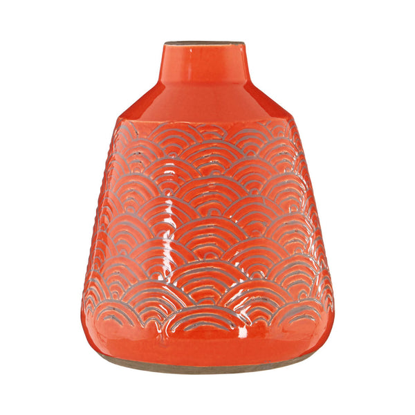 Complements Dalta Vase Orange Handcrafted