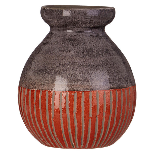 Complements Nova Vase Grey / Orange Round / Handcrafted