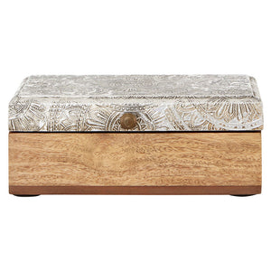 Bowerbird Silver Etched Mango Wood Trinket Box - front view closed