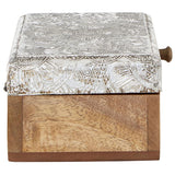 Bowerbird Silver Etched Mango Wood Trinket Box - side view closed
