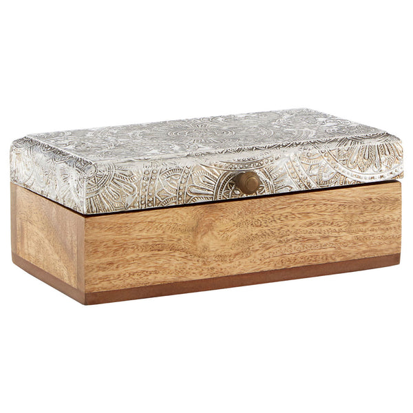Bowerbird Silver Etched Mango Wood Trinket Box - closed at an angle