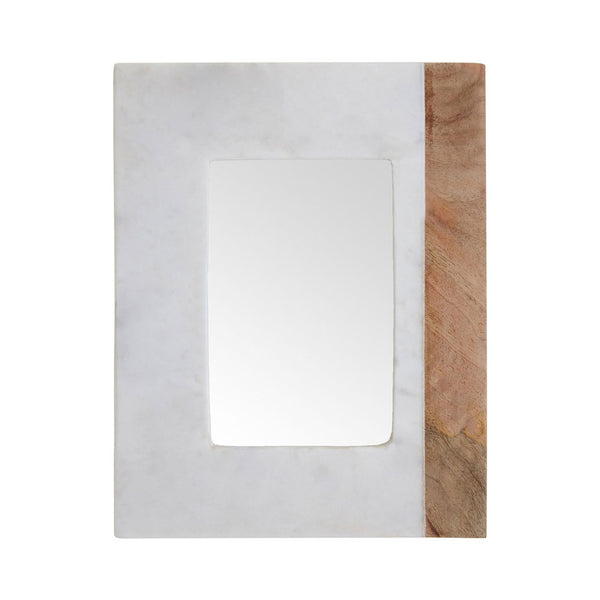 Sena Photo Frame (4In X 6In) White Marble Mango Wood