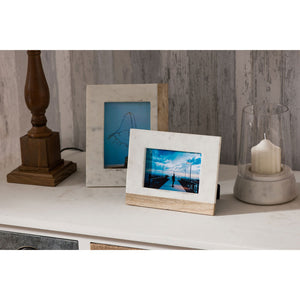 Sena Photo Frame (5In X 7In) White Marble Mango Wood