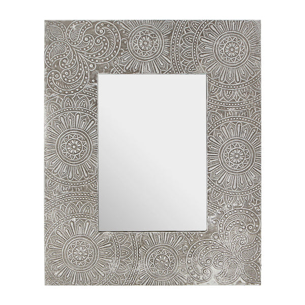 Bowerbird 5x7 Photo Frame Silver Etched Design on white background