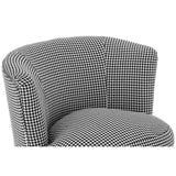 Dogtooth Round Armchair Check Fabric Birchwood Legs