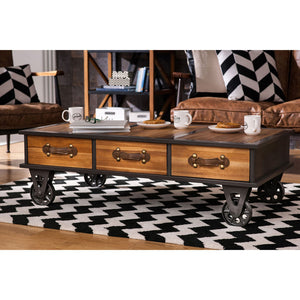 The Warehouse Coffee Table in black and white themed room