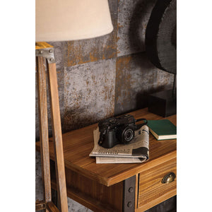 detail of  Warehouse Console Table in room with accessories next to lamp