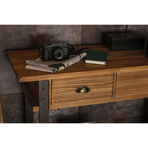 detail of  Warehouse Console Table in room with camera and book