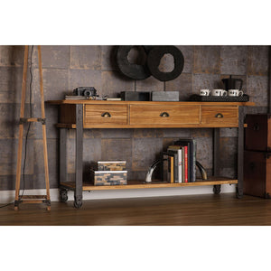 The Warehouse Console Table in room with accessories and mirror