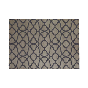 Bosie Tile Print Rug Tufted Grey Wool on white background