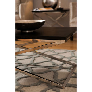 Bosie Tile Print Rug Tufted Grey Wool on floor of house