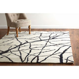 Bosie Branch Print Rug Ivory Tufted Wool / Polyester