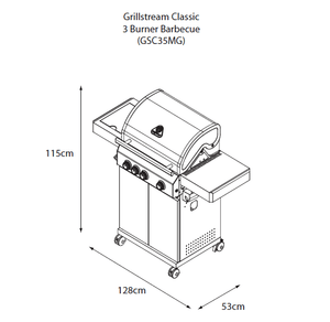 Grillstream Stainless Steel Gas BBQ 3 Burner sketch showing dimensions
