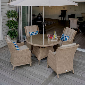 Bramblecrest 4 seater Oakridge garden dining set tall tilt view