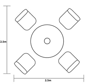 Diagram of 2018 Hartman Capri 4 Seat Dining Set with Round Table - Bronze - with dimensions