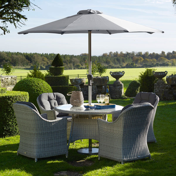 2019 Bramblecrest Monterey 120cm Round Table with 4 Armchairs & Parasol